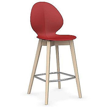 Counter Stool size / Matte Red Seat / Bleached Beech finish