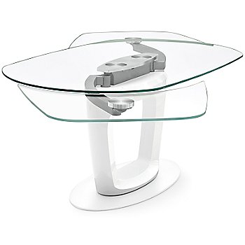 Matte Optic White Legs / Transparent Extraclear Glass Top finish