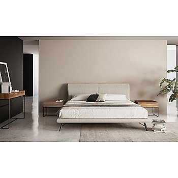 Linea Bed with Linea 1 Drawer Night Stand with Steel Base and Linea Console Table