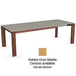 Omnia Glass Extension Table (Walnut/Golden Onyx Marble Ceramic/70.9 in.) - OPEN BOX RETURN