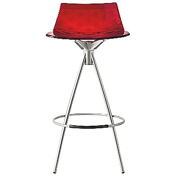 Transparent Red, Satin Steel finish, Counterstool