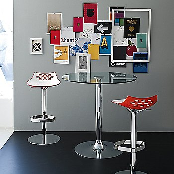 Jam Adjustable Barstool with Planet Small Glass Table