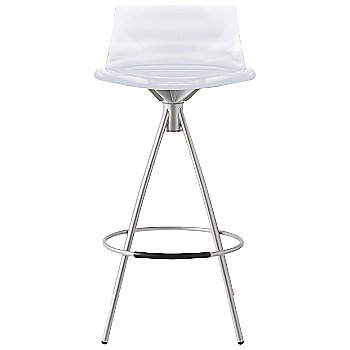 Shown in Transparent Smoke Grey, Chromed finish, Counterstool