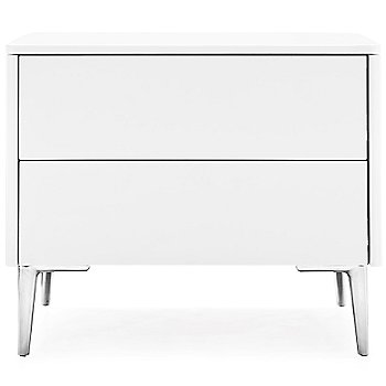 Shown in Matte Optic White finish, Polished Aluminum legs