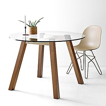T-Table Round Table pictured in use with Academy Chair, Metal Base