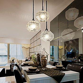 Clear glass, illuminated