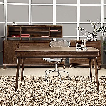 Linear Office Storage Credenza with Catalina Organizer, Catalina Desk with Keyboard Tray and Linear Office Storage File