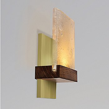 Shown lit with Brushed Brass Base Finish and Oiled Walnut