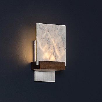 Shown lit with Brushed-Aluminum Base Finish and Oiled Walnut