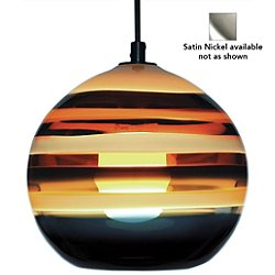 Banded Orb Pendant Light (White Cloth/Amber/Satin Nickel) - OPEN BOX RETURN