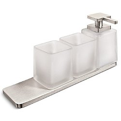 Harmoni Soap Dispenser and Two Tumblers with Shelf