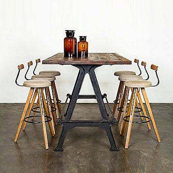 Reclaimed Hardwood - Shown with dining stools