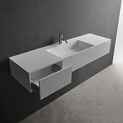 Pure Wall Hung Sink with Two Drawers Modern Bathroom Sinks  YLiving