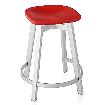 Red seat color with Natural Anodized Aluminum base finish/ Counter Height