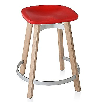 Red seat color with Wood base finish/ Counter Height