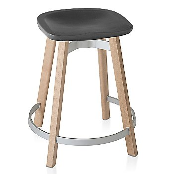 Charcoal seat color with Wood base finish/ Counter height