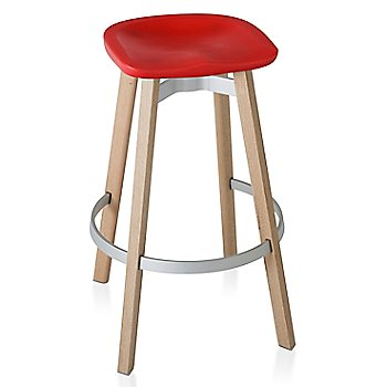 Red seat color with Wood base finish/ Bar Height