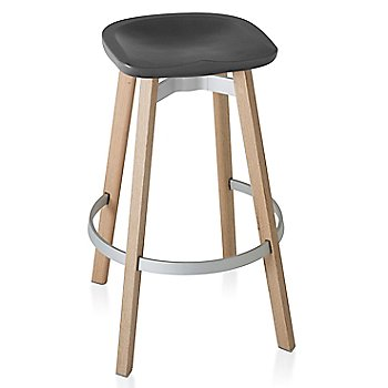 Charcoal seat color with Wood base finish/ Bar height