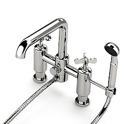 Ludlow Deck Mounted Exposed Tub Filler with Handshower and Metal Cross Handles