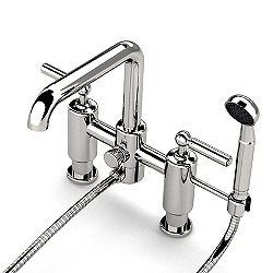 Ludlow Deck Mounted Exposed Tub Filler with Handshower and Metal Lever Handles