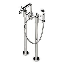 Ludlow Freestanding Exposed Tub Filler with Handshower and Metal Lever Handles