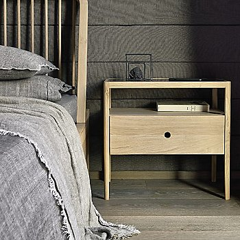Lifestyle in Oak with the Spindle Bedside Table in Oak