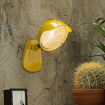 Shown lit in Yellow finish, wall mount application