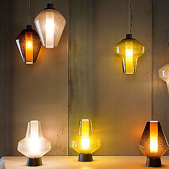 Shown lit with Metal Glass Pendants