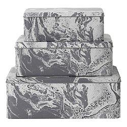 Marble Tin Boxes Set of 3