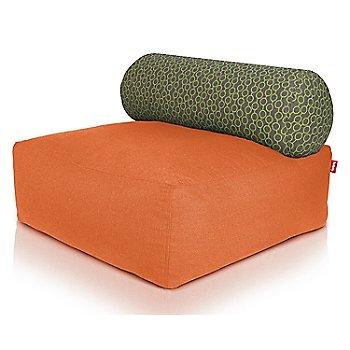 Shown in Orange, Circles Green pillow