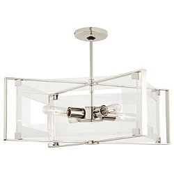 Crystal-Clear 4 Light Semi-Flush Pendant Light