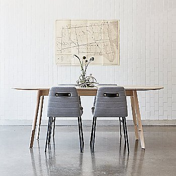 Lecture Upholstered Chair with Bracket Oval Dining Table