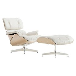 Eames Lounge Chair with Ottoman, White Ash