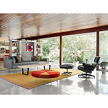 Eames Lounge Chair - Ebony with Eames Ottoman - Ebony, Bolster Three-Seat Sofa and Nelson Platform Bench