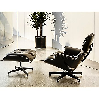Eames Lounge Chair - Ebony with Eames Ottoman, Ebony