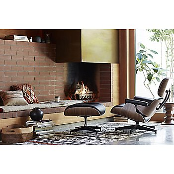 Eames Lounge Chair with Ottoman and Eames Walnut Stools