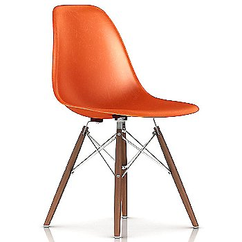 Red Orange / White base / Walnut leg finish