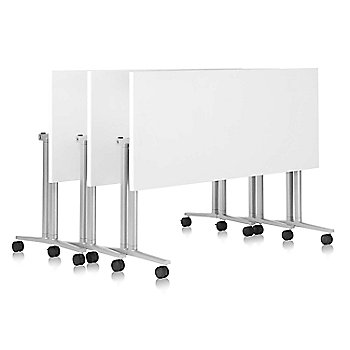 Shown in White color, White edge finish, with Metallic Silver leg finish