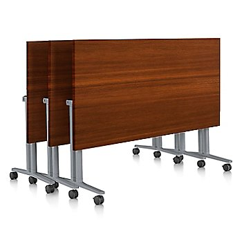 Light Brown Walnut finish / Light Brown Walnut edge finish / with Metallic Silver leg finish