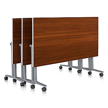 Light Brown Walnut finish / White edge finish / with Metallic Silver leg finish