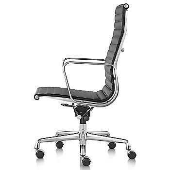 Shown in 2100 Leather Black with Polished Aluminum Base/Polished Aluminum Frame Manual Seat- Height Adjustment Pneumatic Seat - Height Adjustment