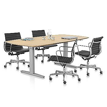 Eames Aluminum Group Executive Chair with Renew Sit To Stand Desk, Oval T Foot - Veneer Top