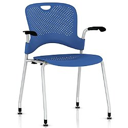 Caper Stacking Chair with Flexnet Seating (Berry Blue/Metallic Silver/Fog/Silver Grey/Hard Floors Only) - OPEN BOX