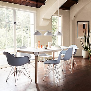 Eames Molded Plastic Armchair, Wire Base with Eames Molded Plastic Side Chair - Wire Base