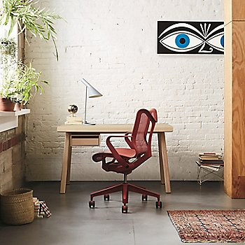Cosm Low Back Chair with Fixed Arms with Distil Desk - 48-In.