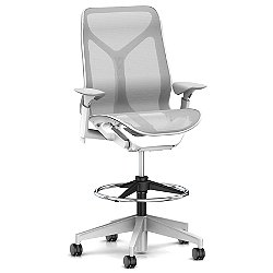 Cosm Mid Back Stool with Height Adjustable Arms (Studio White/ Mineral/Quiet Roll Carpet) - OPEN BOX RETURN