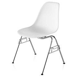 Eames Molded Plastic Side Chair (White w/ Chrome) - OPEN BOX