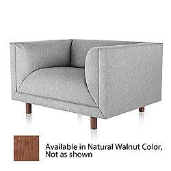 Rolled Arm Club Chair (Natural Walnut/Stone)-OPEN BOX RETURN