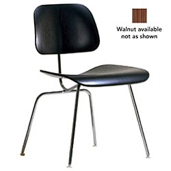 Eames Molded Plywood Dining Chair with Metal Legs (Trivalent Chrome/Walnut) - OPEN BOX RETURN