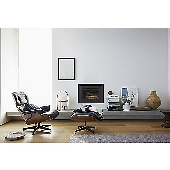 Ottoman with Eames Lounge Chair and Eames Walnut Stools